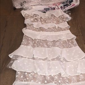 white for love and lemons cosmic tiered dress